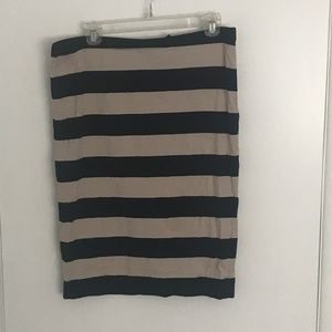 H&M - Blue and Beige striped skirt - L